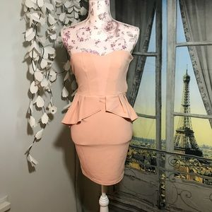 Peach Peplum Dress
